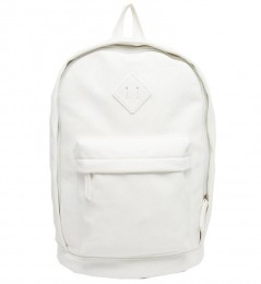 White Faux Leather Backpack Unisex - Men and Women